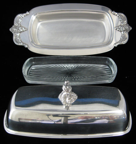 Towle Silver Louis Philippe 3 Piece Butter Dish With Lid Glass Liner 1970s