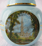 Blue Tea Caddy Canister Twinings Constable Paintings Ceramic 1970s