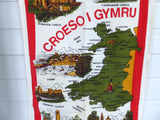 Tea Towel England Welcome To Wales Vintage Welsh 1970s Souvenir