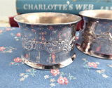 Wallace Baroque Pair Silver Plate Napkin Rings Boxed Repousse Floral 1970s