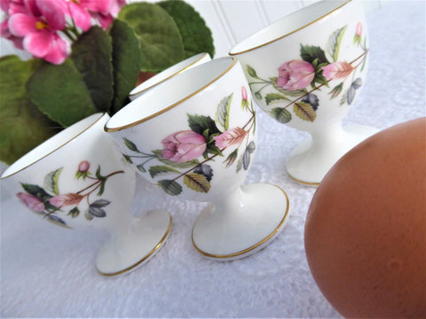 Eggcups Wedgwood Hathaway Rose Set Of 4 England 1970s Bone China Pink Rose