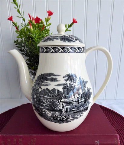 Coffee Pot Wedgwood Lugano Black Transferware 1970s Afternoon Tea 1950s Tall Teapot