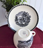 Wedgwood Cup And Saucer Lugano Black Transferware Italian Scene 1970s