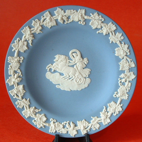 Wedgwood Blue Jasperware Pin Dish Round Aurora And The Chariot Of Dawn 1970s Teabag Caddy
