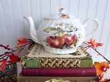 English Teapot Fruit Theme Aurthur Woods Large Tea Pot 1970s Apples Pear