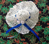 Christmas Tree Ornaments 2 Crocheted 1970s Picture Hat Mitten Victorian Style Blue Ribbon