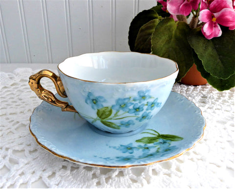 Hand Painted Blue Cup And Saucer Artistan Violets Forget Me Nots 1971