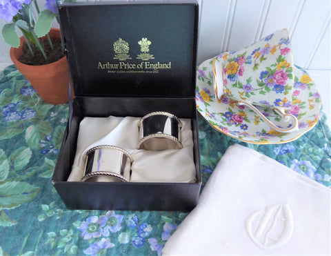 English Silver Napkin Rings Boxed Pair Mint 1970s Arthur Price England Silver Plate