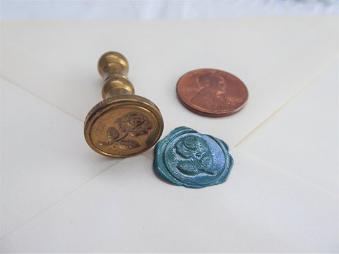 Vintage Brass Rose Seal For Wax 1960s Invitations Letters Elegant Correspondence