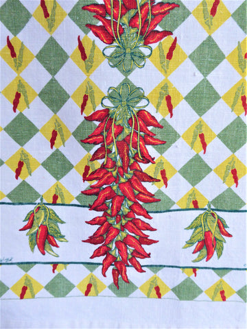 Chili Peppers Linen Tea Towel 1970s Dish Towel Culinary Kitchen Southwest MFA
