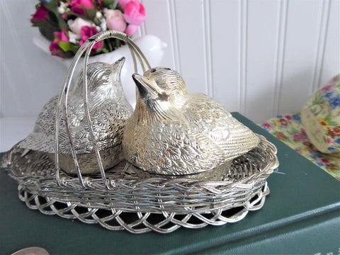 Chubby Birds In Basket Silverplated Salt and Pepper 1970s Charming Cruet Set