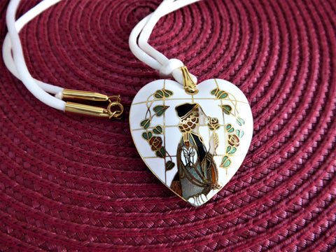 White Enamel Heart Pendant Necklace Art Nouveau Figure 1970s Long Silk Cord