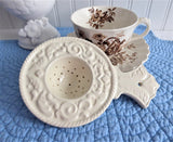 Embossed Cream Ware Tea Strainer Over The Cup 1970s Strain Tea Leaves