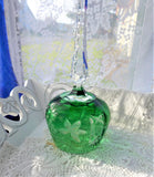 Green Lead Crystal Hostess Bell Spire Handle Bohemia Cut To Clear Grapes Leaves 1980s Czech