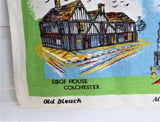 English Dish Towel Eastern Panorama Tea Towel 1950s Linen Sussex Suffolk Norfolk