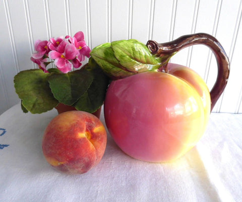 Figural Ripe Peach Pitcher Twig Handle Ceramic Jug Large Round 1970s Iced Tea