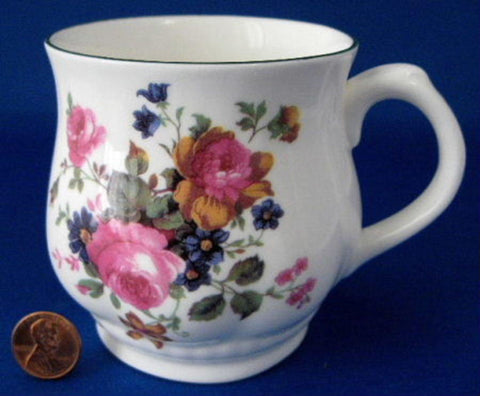 Mug Pretty Floral Bouquet Woodlea England Roses Blue Trim Bone China