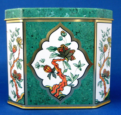 English Tea Tin Green Marble Oriental Indian Tree Hinged Lid 1980s