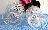 Lead Crystal Cream And Sugar Mitre Cut Fans Silver Point 1970s Sugar And Creamer