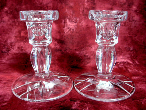Candleholders Mikasa Cut Lead Crystal Rose Motif Pair 1970s USA Crystal Candle Holders
