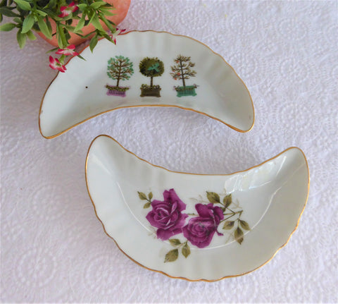 Pair Crescent Bone Dishes Roses Topiary 1970s Takahashi Porcelain Side Dish Bowls