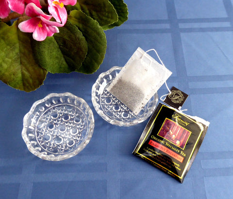 Pair of Lead Crystal Dish Teabag Holders Jam Dish Waffle Pattern 1970s Faceted Glass Coaster
