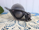 Pewter Toothpick Holder Chick Egg Wishbone Victorian Copy 1970s Best Wishes Tooth Pick Holder