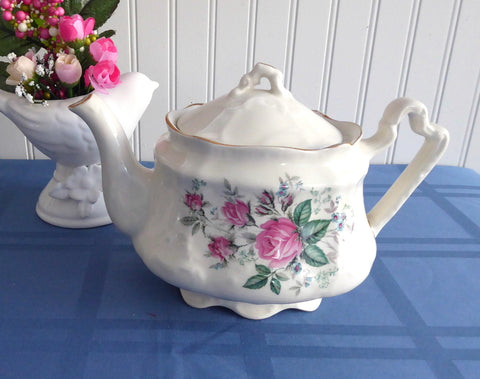 Pink Roses Teapot Large Arthur Wood 1970s 24 Ounces Fancy Shape