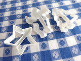 Christmas Cookie Cutters 3 White Plastic Santa Star Tree 1970s Set Of 3 Retro Mid Century Holiday
