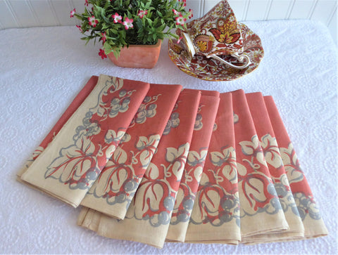 Napkins 8 Retro Linen Coral Grey Tan Rust Grapevines Dinner Napkins 1970s