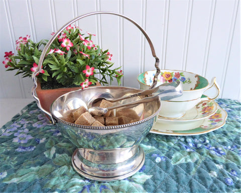 Vintage Silver Candy Bowl Sugar Basket 1970s Tea Party Calling Cards Candy Bowl