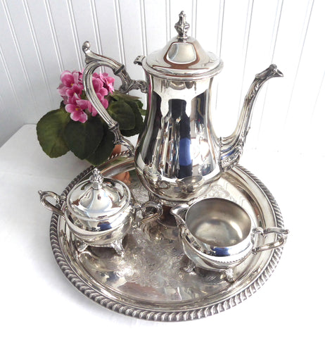 Tea Party Tea Set Pot Sugar Cream Tray Coffee Set 5 Piece Mid Century Rogers 1970s Silver Plate