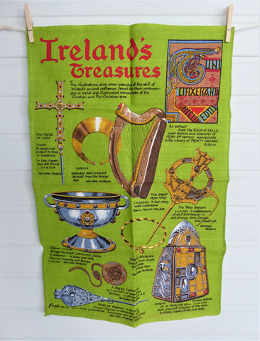 Ireland's Treasures Dish Towel Tea Towel Irish Linen Unused Tara Brooch Ardagh Chailce Green