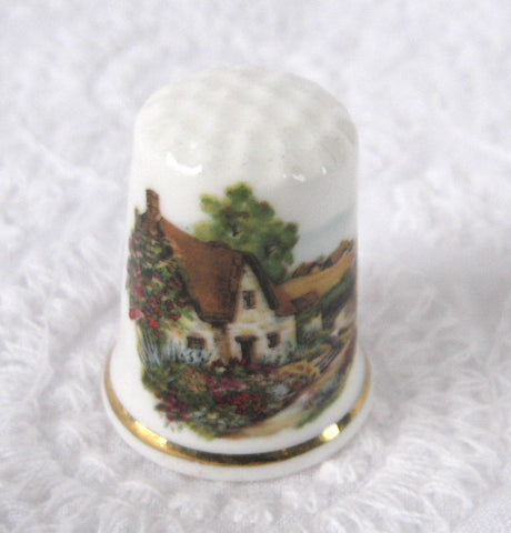 Thimble English Thatched Cottage Bone China Sewing Thimble 1970s England Souvenir