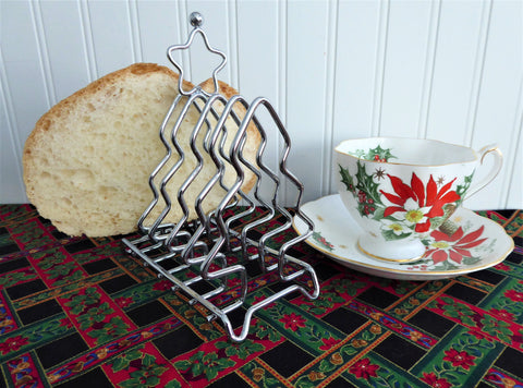 Christmas Toast Rack Christmas Trees Star 1970s English Chrome 6 Slice Toast Holder Letters Tea Party