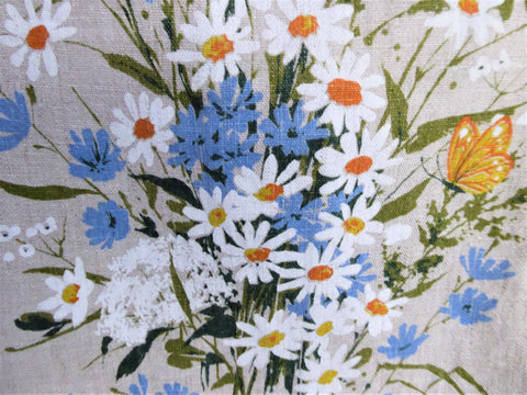 Tea Towel Wildflowers Kay Dee Designs 1970s Natural Linen Artist Signed