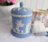 Wedgwood Blue Jasperware Cylinder Box Tea Caddy 1972 Blue On White Sacrifice Figures