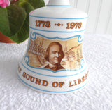 Hostess Bell Hammersley Boston Tea Party Bell 1973 Sound Of Liberty 1973 Bone China