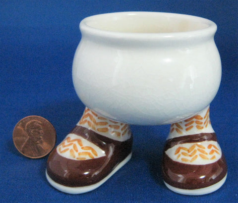 Walking Ware Eggcup Brown Shoes Carlton Ware Luster 1973 Iconic Original