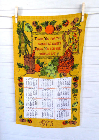 Linen Blessing Calendar Towel 1975 Dish Towel Gold Avocado Green Orange Retro Kitchen