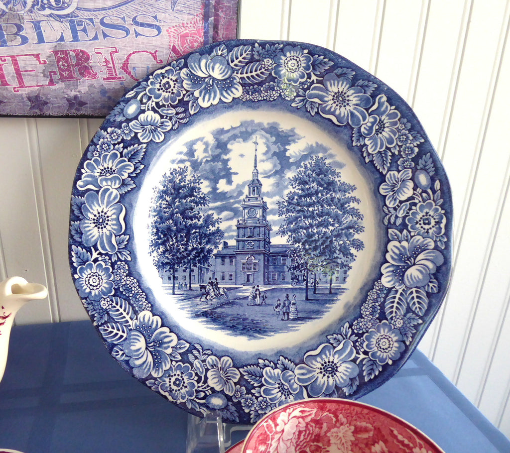 Liberty Blue Staffordshire Independence Hall Plate 9.85 Inch Dinner Plate : liberty blue dinnerware - pezcame.com