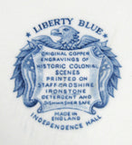 Liberty Blue Staffordshire Independence Hall Plate 9.85 Inch Dinner Plate
