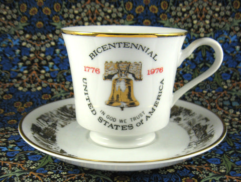 USA Bicentennial Cup And Saucer 1976 Metallic Gold Liberty Bell Porcelain