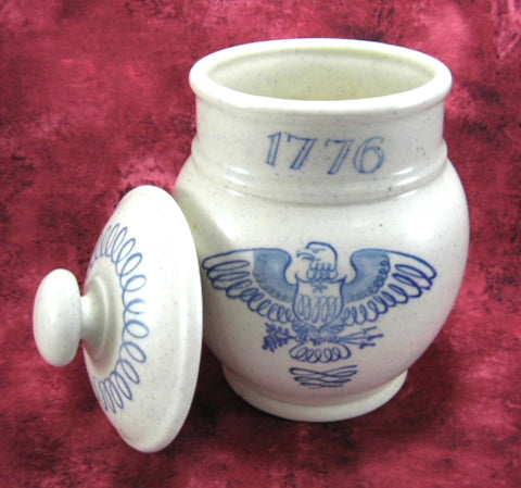USA Bicentennial Tea Canister Caddy Stoneware Blue On White Eagle 1776-1976