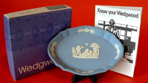 Wedgwood Jasperware Silver Tray Blue Cherubs Original Box 1970s Spoon Tray