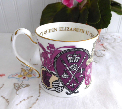 Queen Elizabeth II Silver Jubilee Coalport Mug 1977 Bone China Symbols Purple