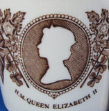 Mug Elizabeth II Silver Jubilee Mason's Ironstone Brown Transferware New With Tags 1977