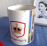Tea Tin Queen Elizabeth II Silver Jubilee 1977 England Red Blue Cylinder Biscuit Tin