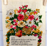 Linen Kitchen Prayer Long Calendar Towel 1978 Mid Century Colors Retro Kitchen Decor