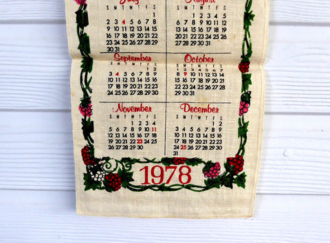 1978 Calendar September.Linen Kitchen Prayer Long Calendar Towel 1978 Mid Century Colors